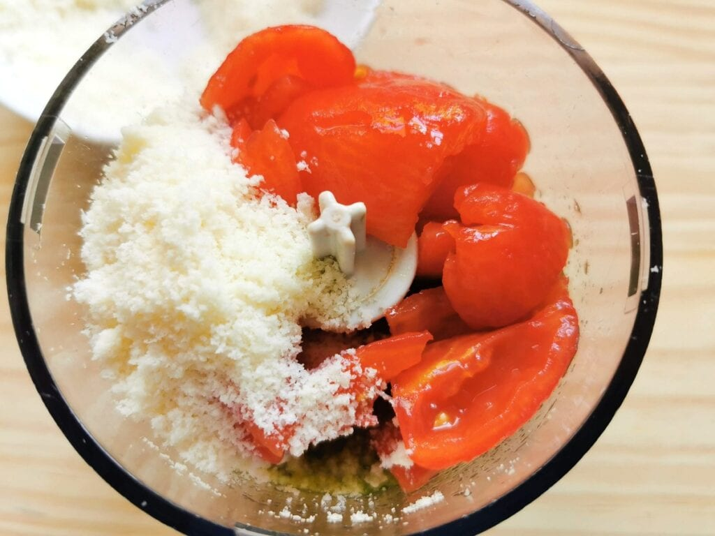 peeled and chopped tomatoes and grated pecorino in food processor
