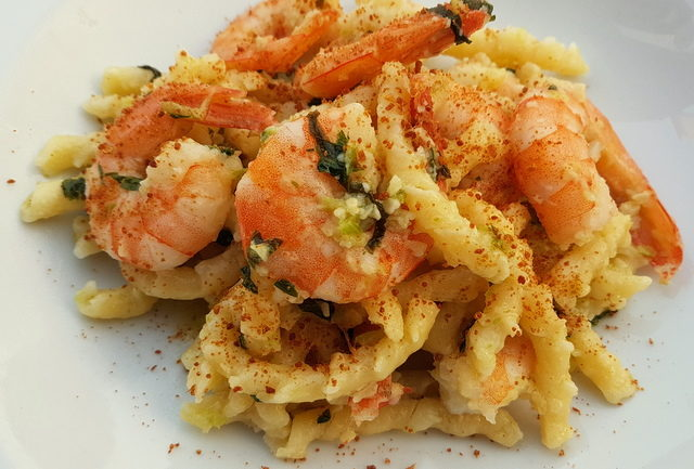 busiate with bottarga, almonds and prawns