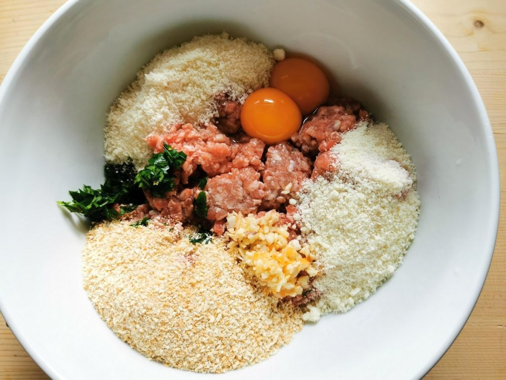 meatball ingredients in white bowl