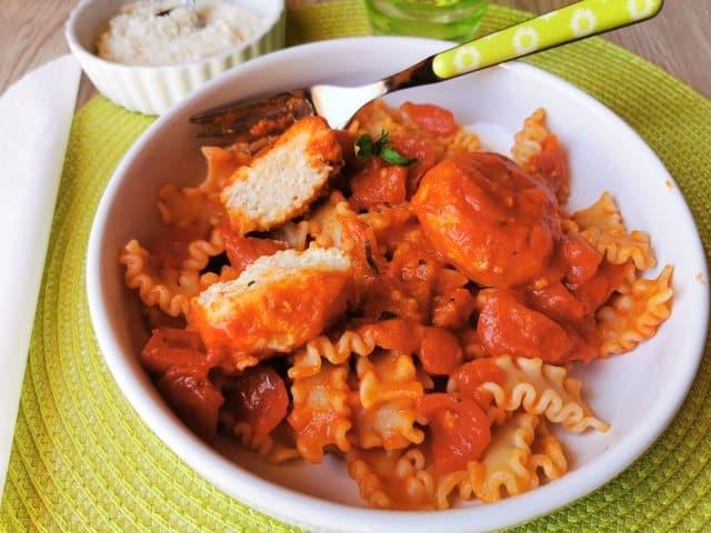 Calabrian ricotta balls in tomato sauce.