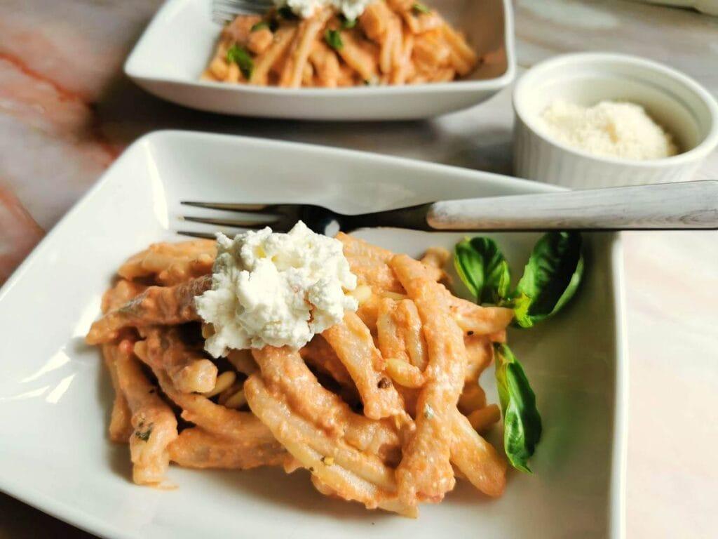 casarecce pasta with Sicilian pesto