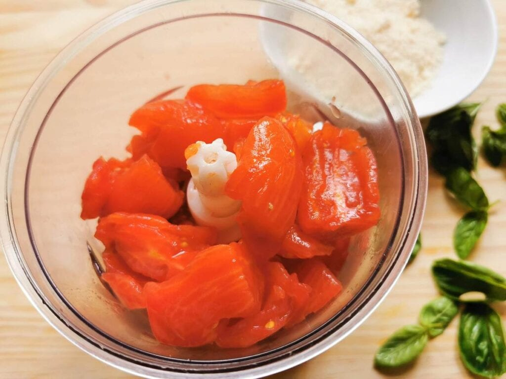 peeled and chopped tomatoes in food processor