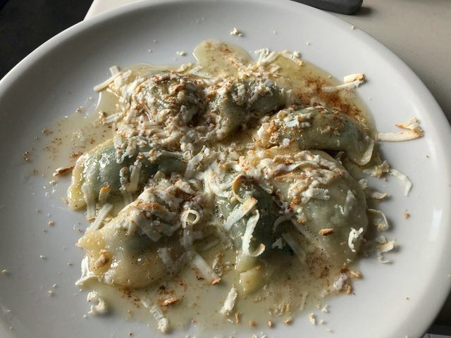 half-moon cjarsons with butter and smoked ricotta