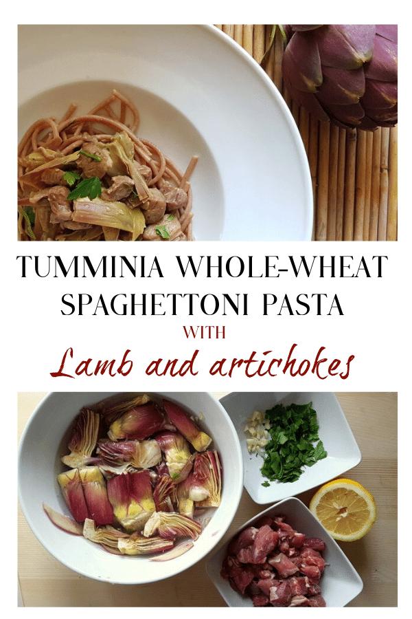 Tumminia Whole-Wheat Spaghettoni Pasta with Lamb and Artichokes