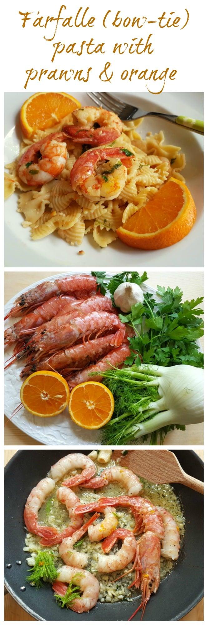 Farfalle pasta with prawns and orange