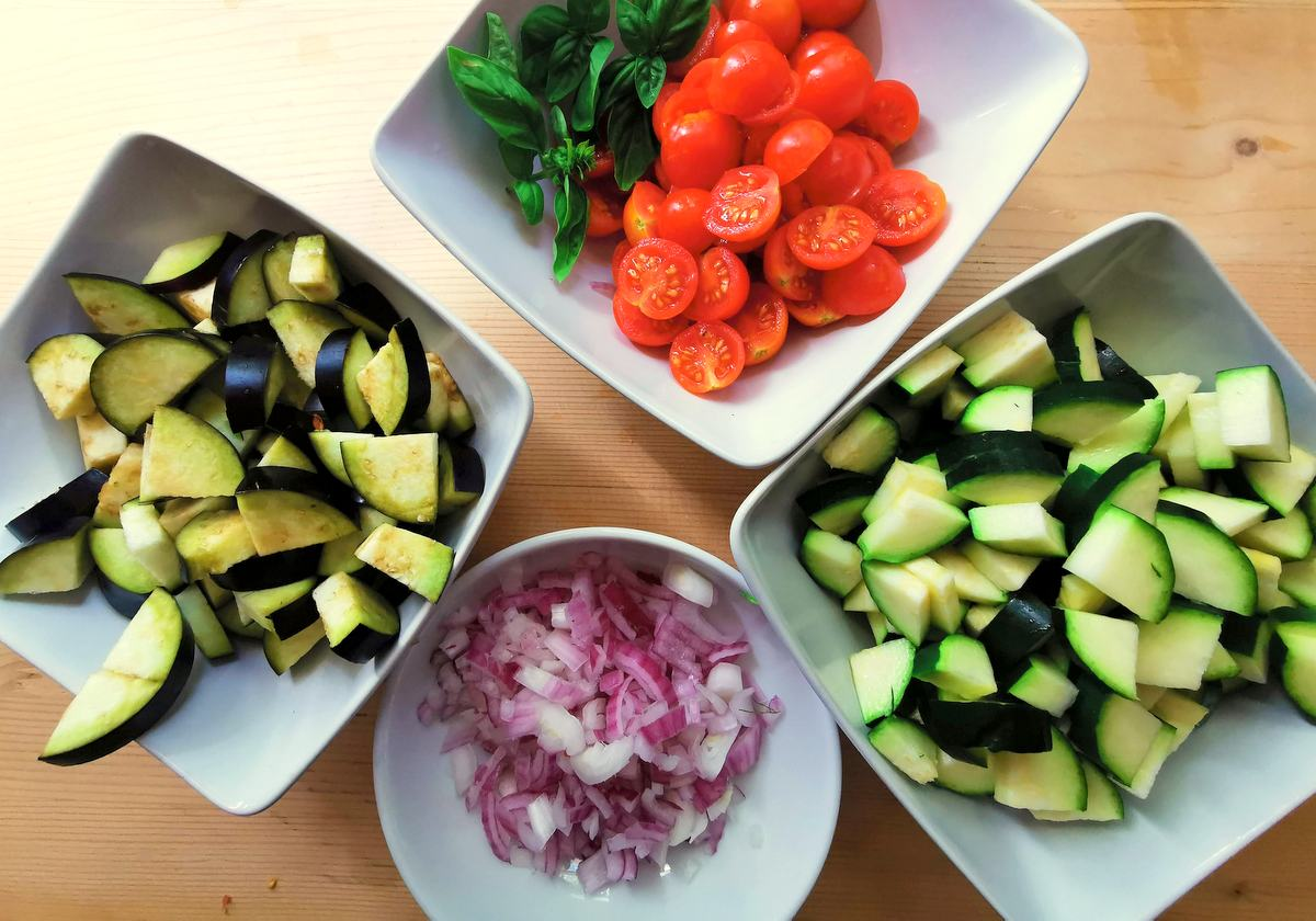 ingredients chopped and ready to be cooked