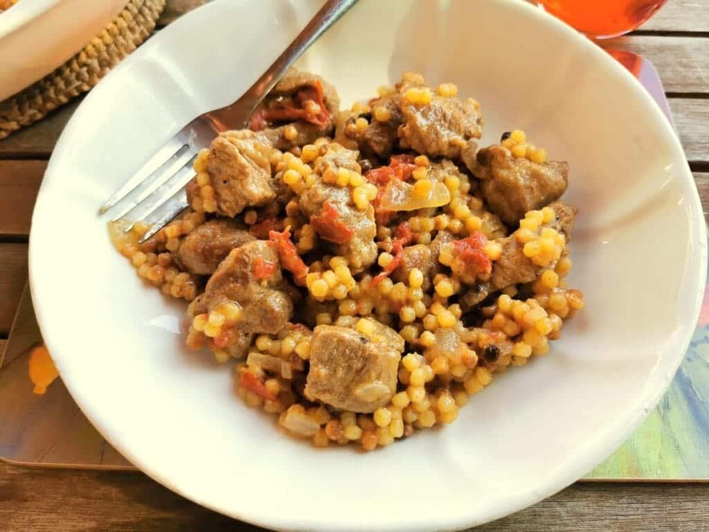Sardinian fregola with lamb.