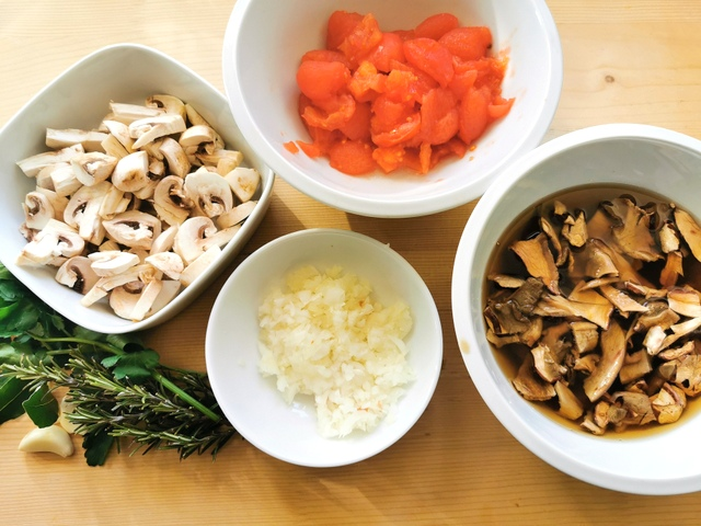 ingredients for mushroom ragu peeled and chopped and ready to cook.