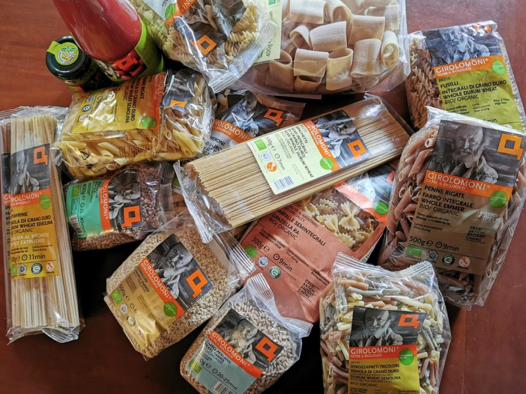 Pasta and other products I brought home from my visit to organic pasta makers Girolomoni