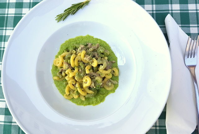 gramigna with sausage, peas and cream in white plate on green and white tablecloth
