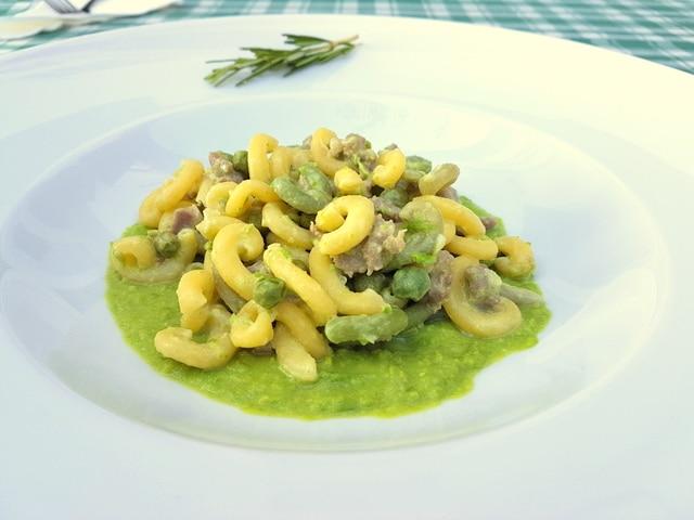 gramigna with sausage, peas and cream