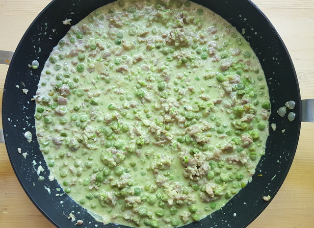 sausage, peas and cream sauce after pea puree is added.