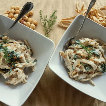 hazelnut pasta with spinach and ricotta cream