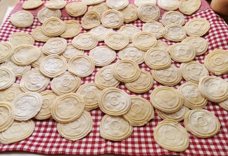 Homemade corzetti pasta