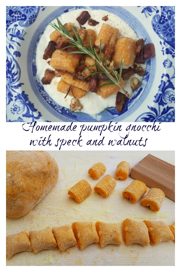 homemade pumpkin gnocchi with speck, walnuts and Parmesan cream