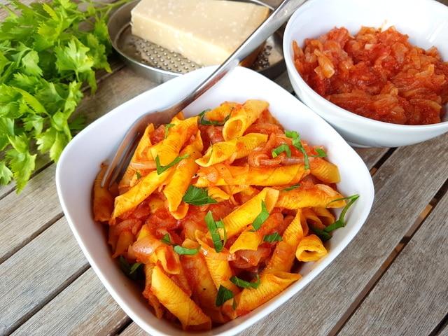 Italian braised onion sauce (il friggione) with garganelli pasta