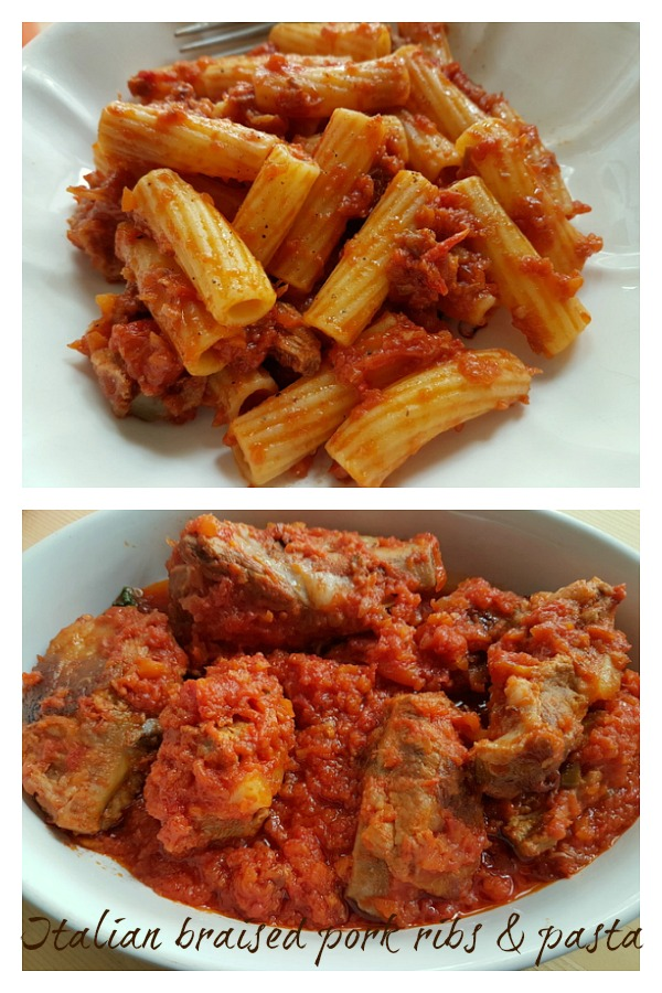 Italian braised pork ribs with pasta