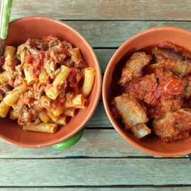 Italian braised pork ribs with pasta
