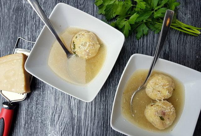 Italian dumplings canederli in broth