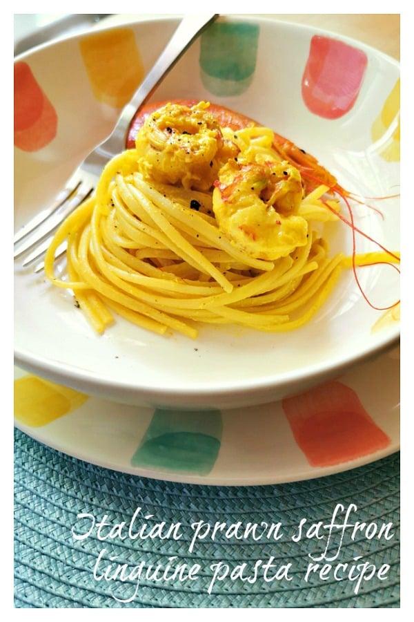 Italian prawn saffron linguine pasta recipe