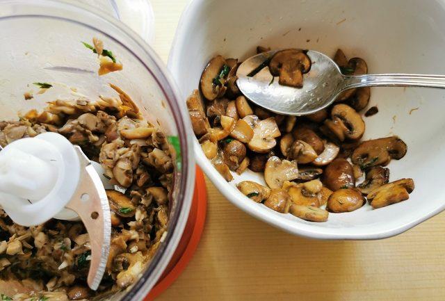 chopped mushrooms in food processor