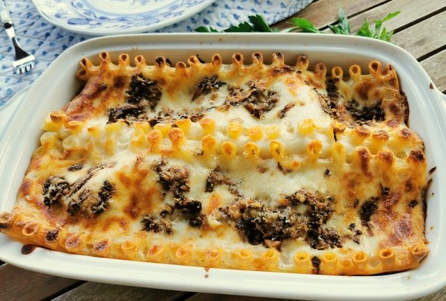 Italian ricotta mushroom lasagne al forno.