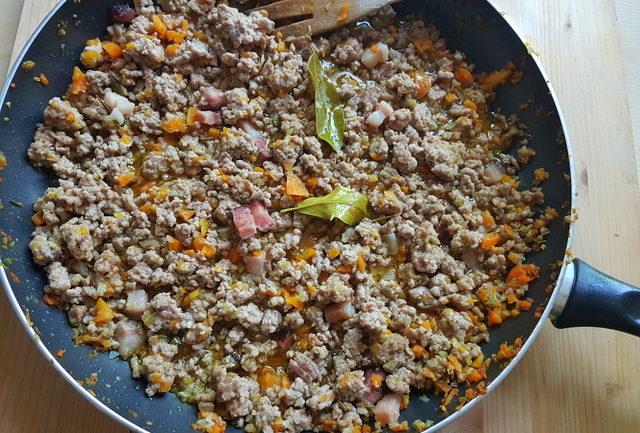 cooked Italian white ragu in frying pan