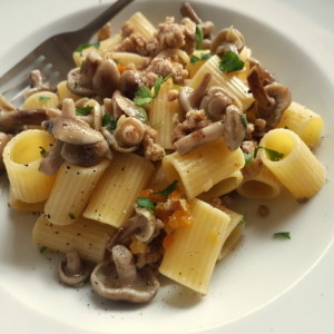 Italian white ragu pasta with wild mushrooms