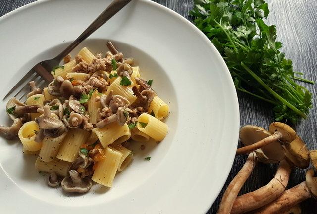 Italian white ragu pasta with wild mushrooms