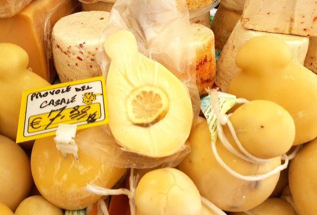 Lemon provolone for sale in Sicilian market