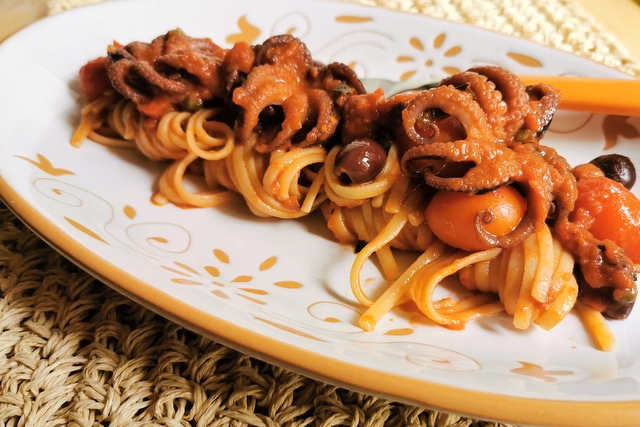 Pasta with Baby Octopus alla Luciana.