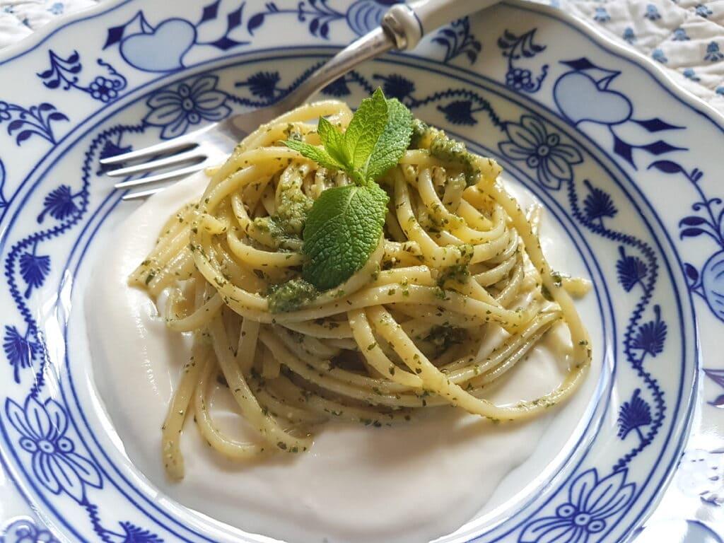 linguine with mint pesto and ricotta cream