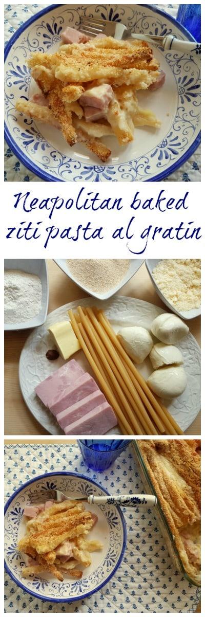 Neapolitan baked ziti pasta al gratin