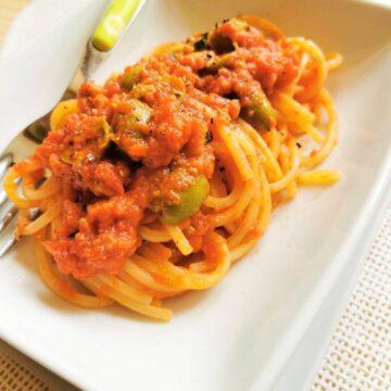olive and tuna spaghetti all'Ascolana