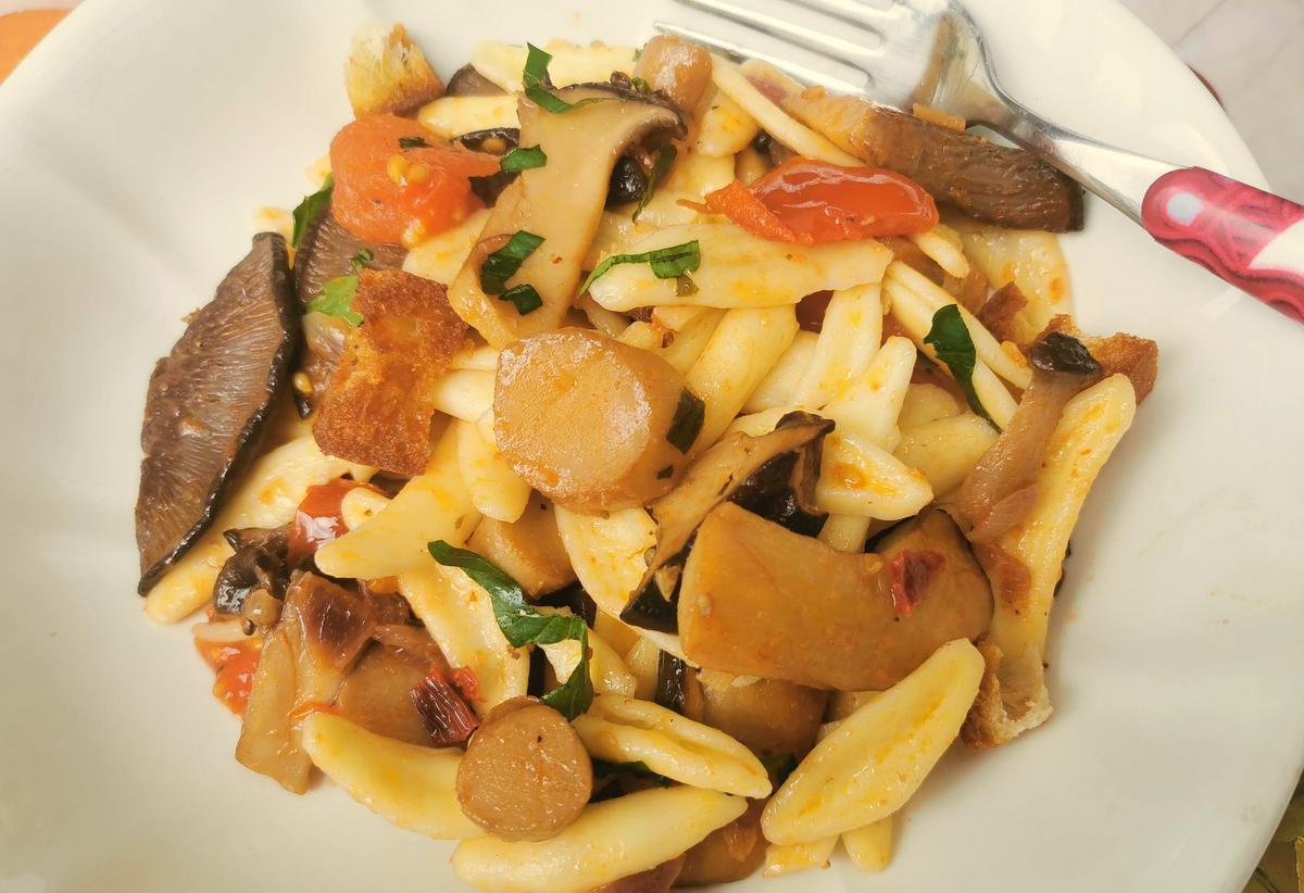Olive Leaf Pasta with King Oyster Mushrooms.