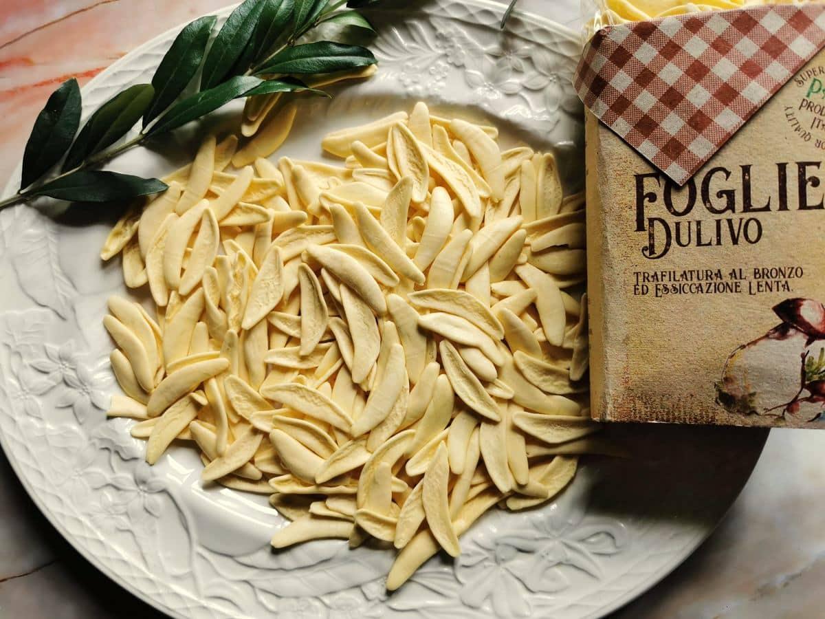 white olive leaf pasta on white plate.