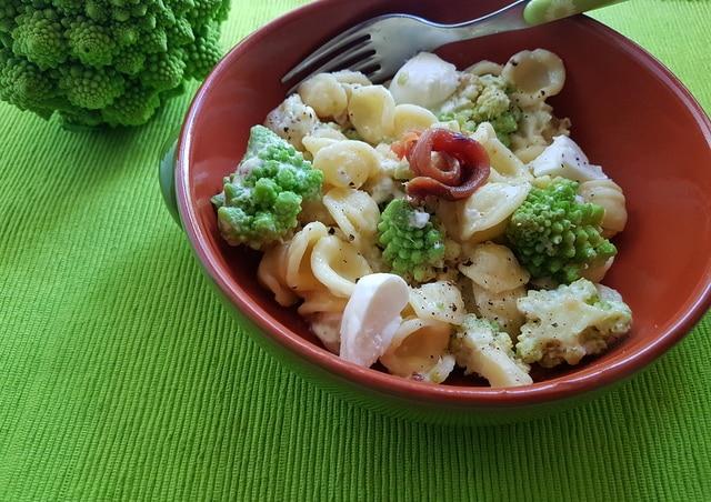 Orecchiette with Romanesco broccoli, burrata and anchovies