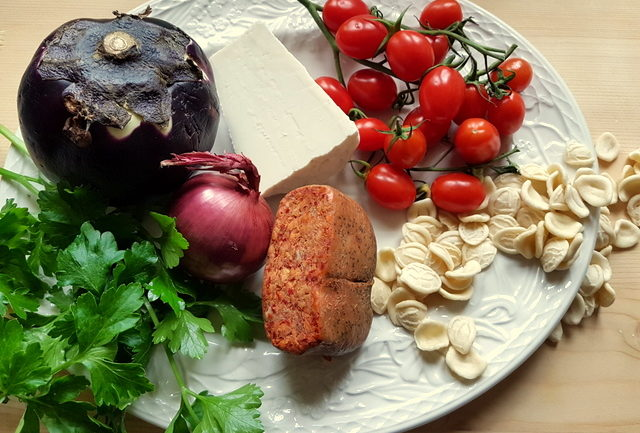 ingredients for Orecchiette with Nduja and eggplant (aubergine)