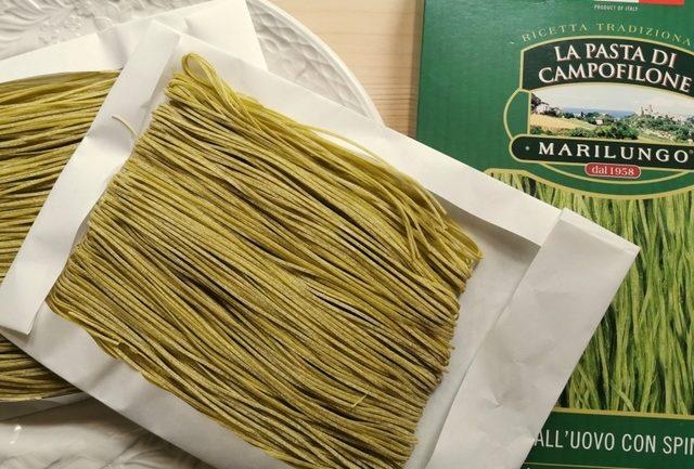 spinach tagliolini made by Pasta Marilungo, Marche