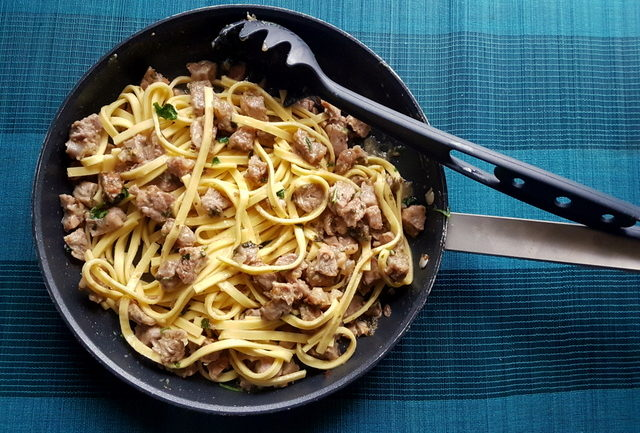 Fettuccine Pasta Ossobuco veal and pasta in frying pan