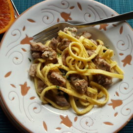 Fettucine Pasta Ossobuco in white terracotta bowl