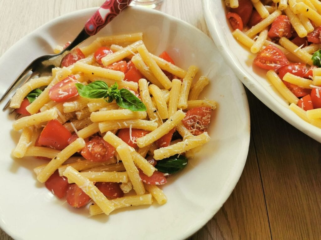pasta salad crudaiola Barese an Italian summer pasta recipe from Puglia