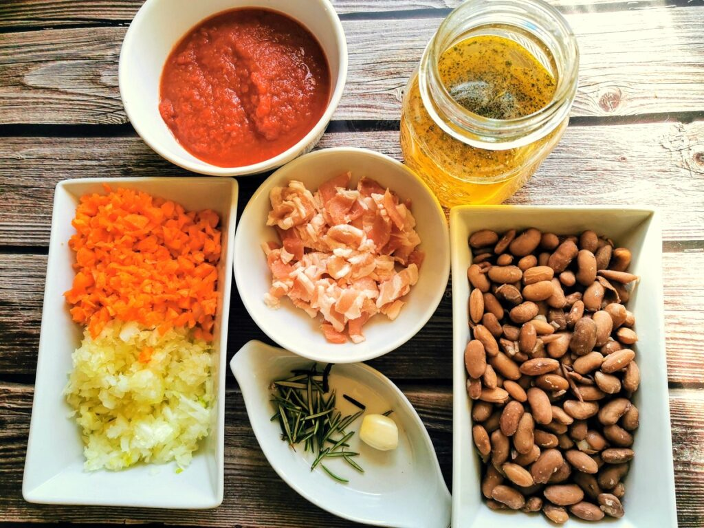 Ingredients for pasta and beans prepared for cooking.