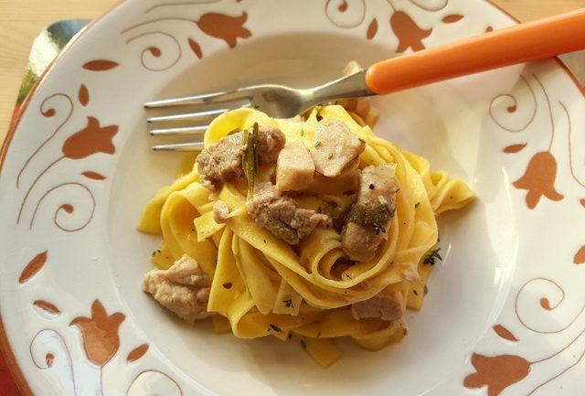 tagliatelle pasta with cinnamon spiced pork ragu from Friuli Venezia Giulia.