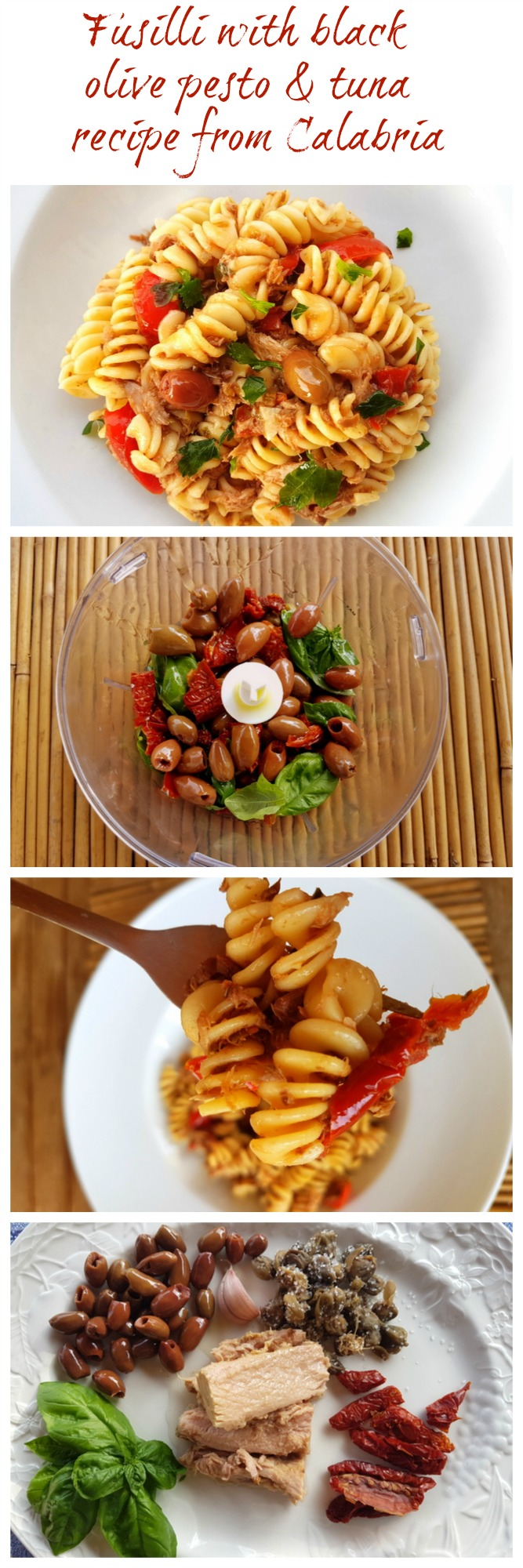 fusilli pasta with black olive pesto and tuna