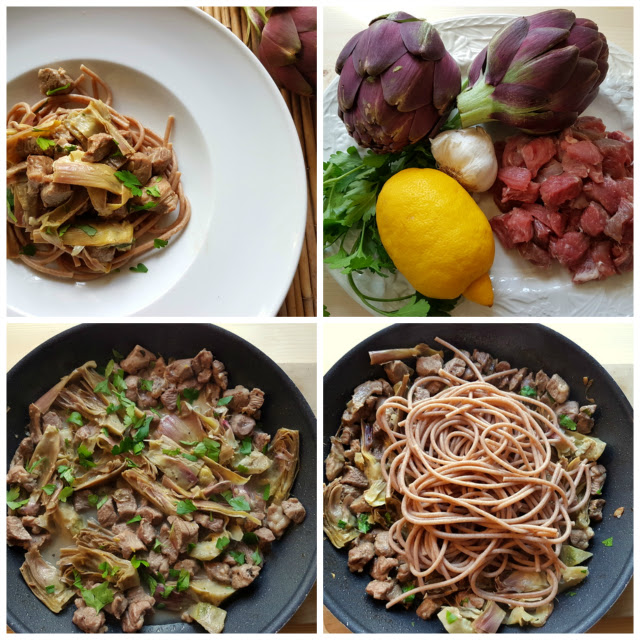 Pasta with lamb and artichokes