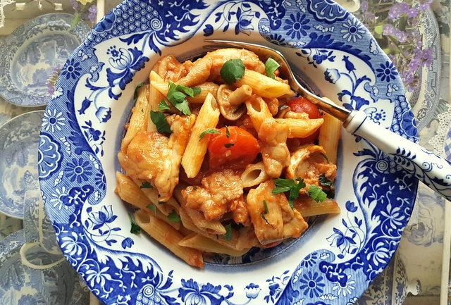 Penne pasta alla boscaiola (woodman's pasta)