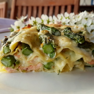Seafood pasta recipes poached salmon and asparagus lasagne al forno one portion on white plate