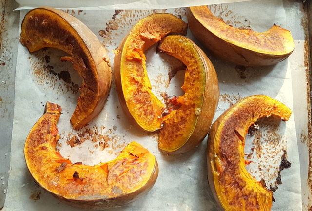 roasted pumpkin slices for Pumpkin Tortelli; recipe from Mantova