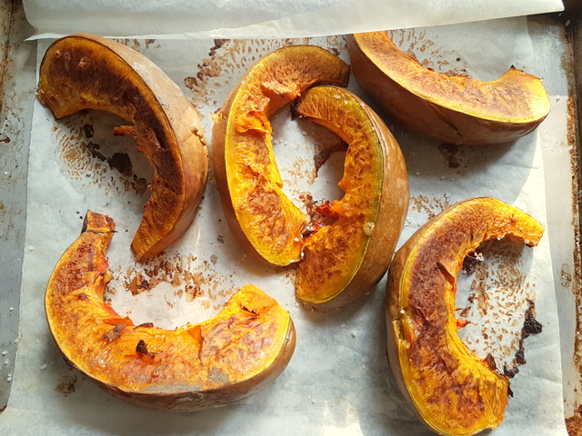 roasted pumpkin slices for Pumpkin Tortelli; recipe from Mantova